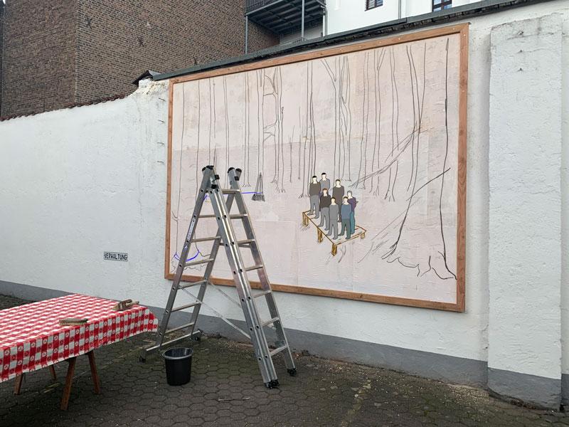 Ivo Weber Waldfegen Plakatwand im Hinterthof waldfegen
